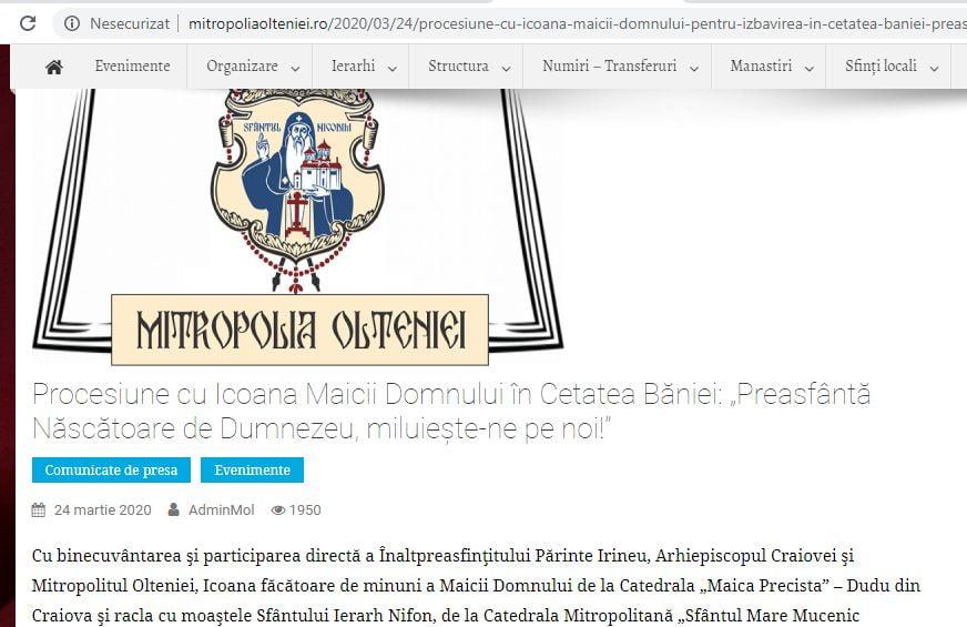 În carantină, Mitropolia Olteniei scoate o icoană și moaște pe străzile Craiovei!