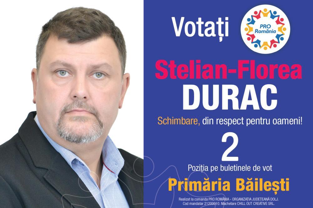 """Stelian Florea Durac, candidatul PRO România la Primăria Băilești: """"Schimbare, din respect pentru oameni!"""""""
